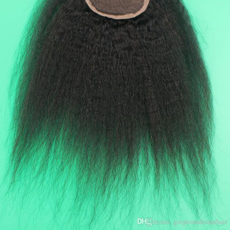 Cierre superior 8-20 pulgadas rizado natural color malasio pelo humano encaje cierre libre / medio / lateral / 3 parte