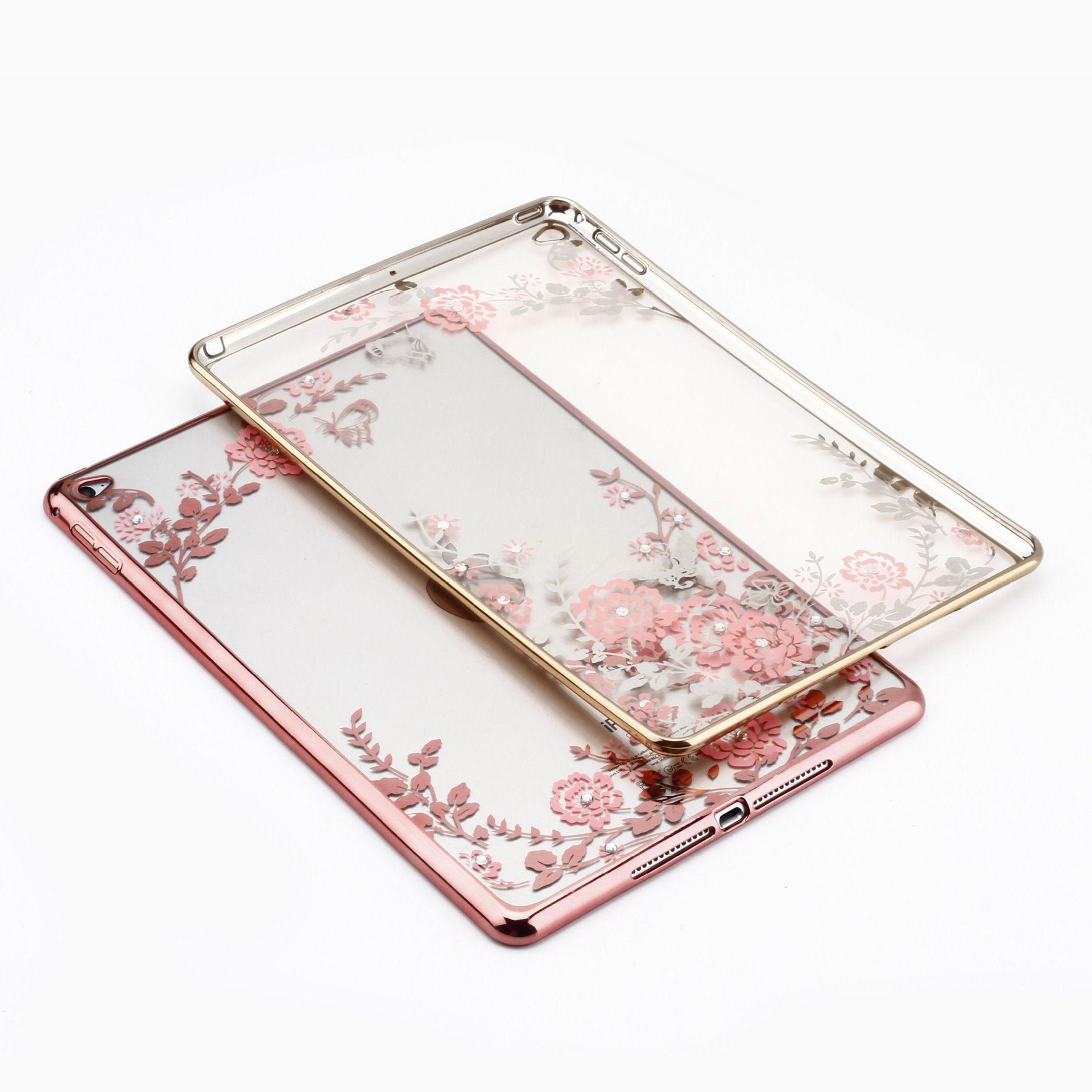 Diamond Secret Garden Flower para iPad Mini 2 3 4 Para iPad air1 air2 Pro Marco de galvanoplastia Transparen Soft TPU Tablet Case Capa