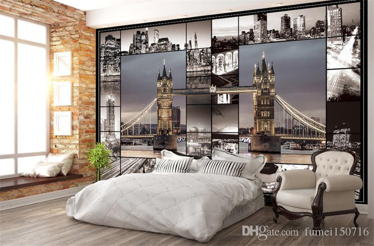 Wallpaper For Lounge Wall Part - 15: Retro Nostalgic London City Buildings Wallpapers European Night Scene 3d  Cafe Lounge Bar Photo Gallery Background Wall Wallpaper High Definition  Wallpaper ...
