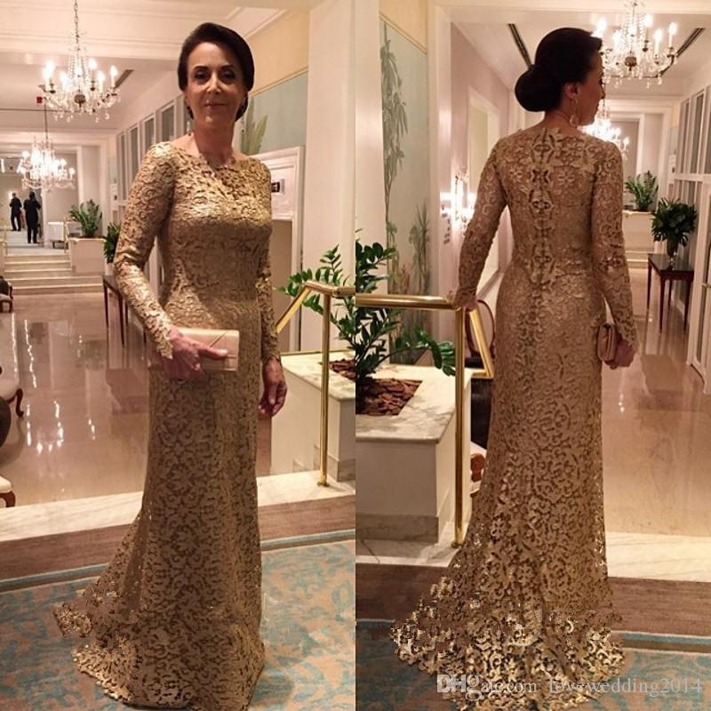226e2f2257e2f Satın Al Altın Dantel Anne Gelin Elbiseler 2019 Arapça Mermaid Uzun Kollu  Düğün Konuk Elbise Örgün Abiye Giyim, $98.49 | DHgate.Com'da