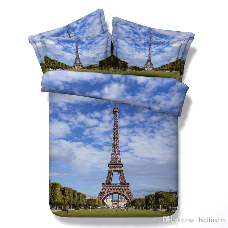 Hot Sale Light Blue Eiffel Tower 3d Printed Bedding Sets Twin Full