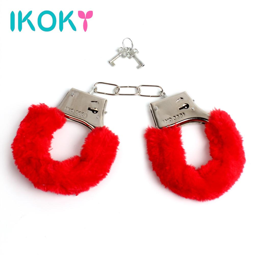 ikoky new adult games sm bondage furry soft metal handcuffs hand