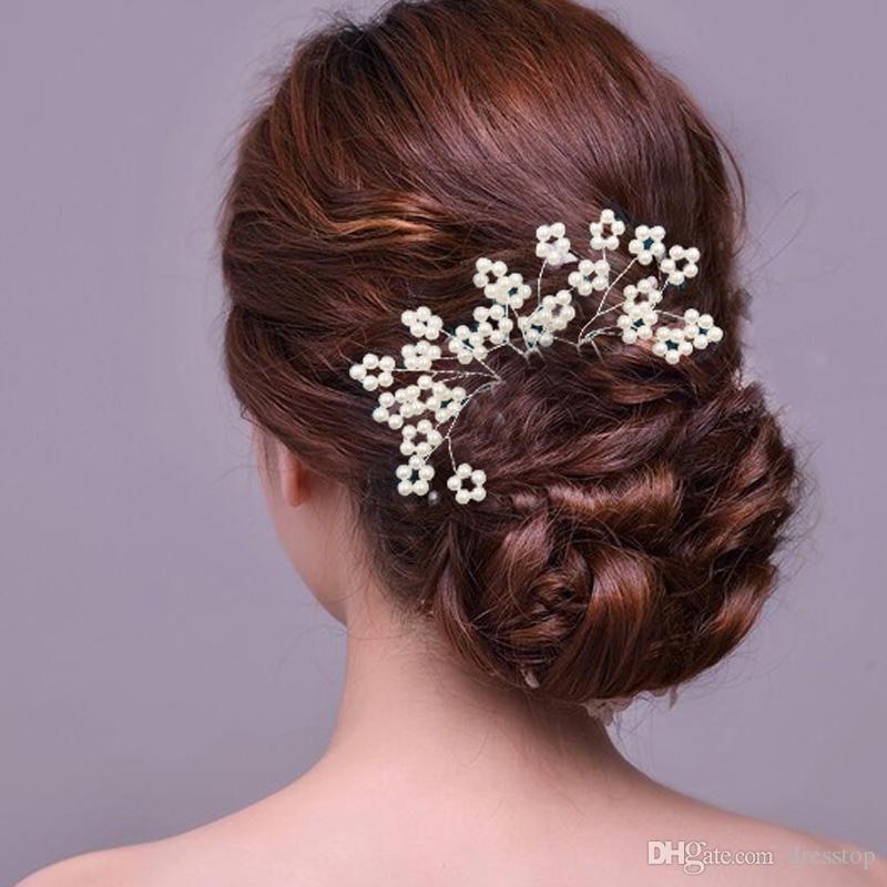 Vintage Pearls Wedding Hair Accessories Flower Wedding Church Rhinestone Hair Accessories With Brooch Hairpin Clip Bridal Flower