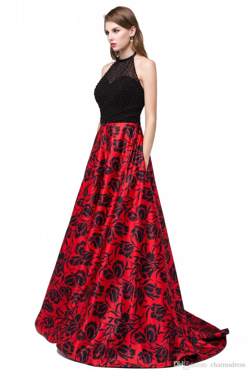 Prawdziwe zdjęcie 2017 Drukuj Kwiatowy Długie Suknie Wieczorowe Frezowanie Backless Sheer Sexy Prom Party Dress