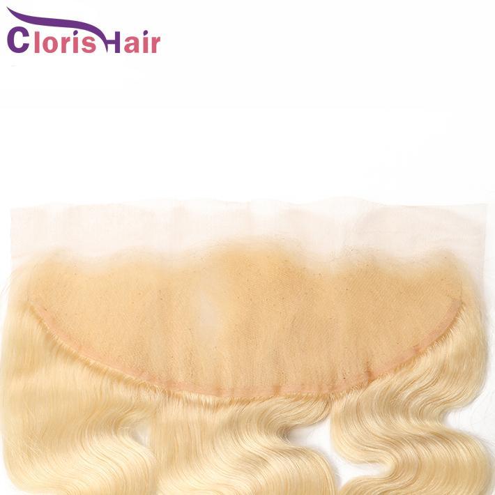 شقراء 13x4 الرباط أمامي الأذن إلى الأذن العذراء العذراء الهندي الشعر البشري أعلى إغلاق 613 البلاتين شقراء الجسم موجة كاملة مع شعر الطفل