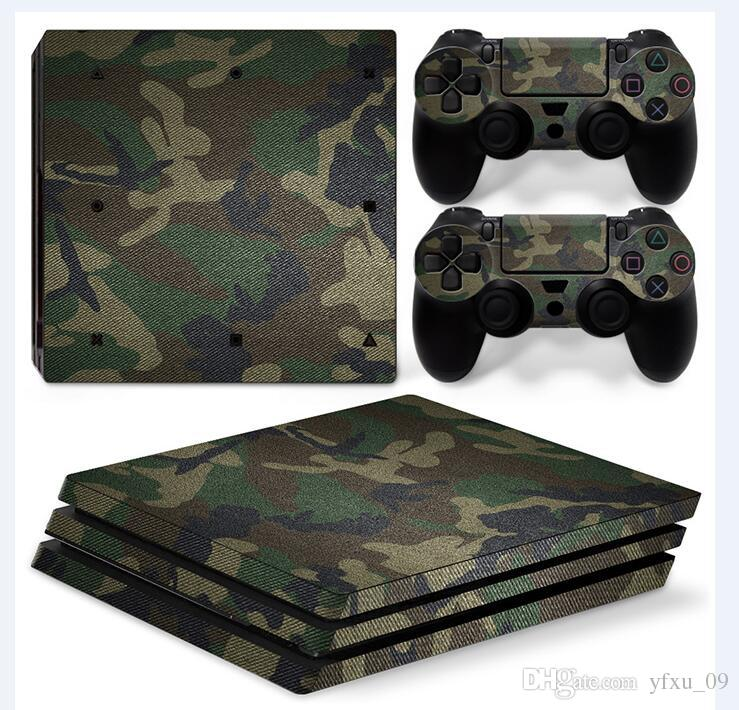 Camouflage Style Full Set Vinyl Skin Sticker Decor Decals for Sony PS4 Pro Console Skin + Controller Cover Skin Stickers