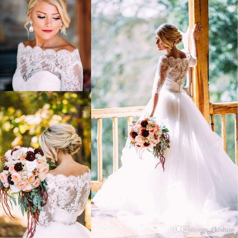 2017 New Vintage Country Off Shouler Style A Line Wedding Dresses Sleeves Lace Tulle Sweep Train Button Back Garden Bridal Gowns Covered