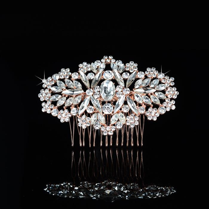 Beijia Shine Rose Gold Crystal Hair Comb Wedding Jewelry Rhinestone ... 3eacc0909a55