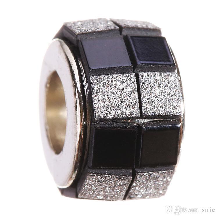 Silver Plated Crystal Acrylic Plaid Beads Charm Big Hole Loose Beads For Pandora European Bracelet XZ98