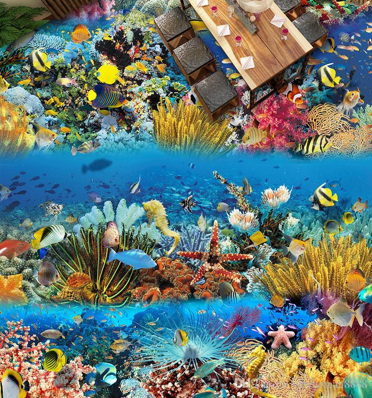 vinyl flooring Customized photo wallpaper Whale dolphin algae 3d floor tiles wallpapers for living room