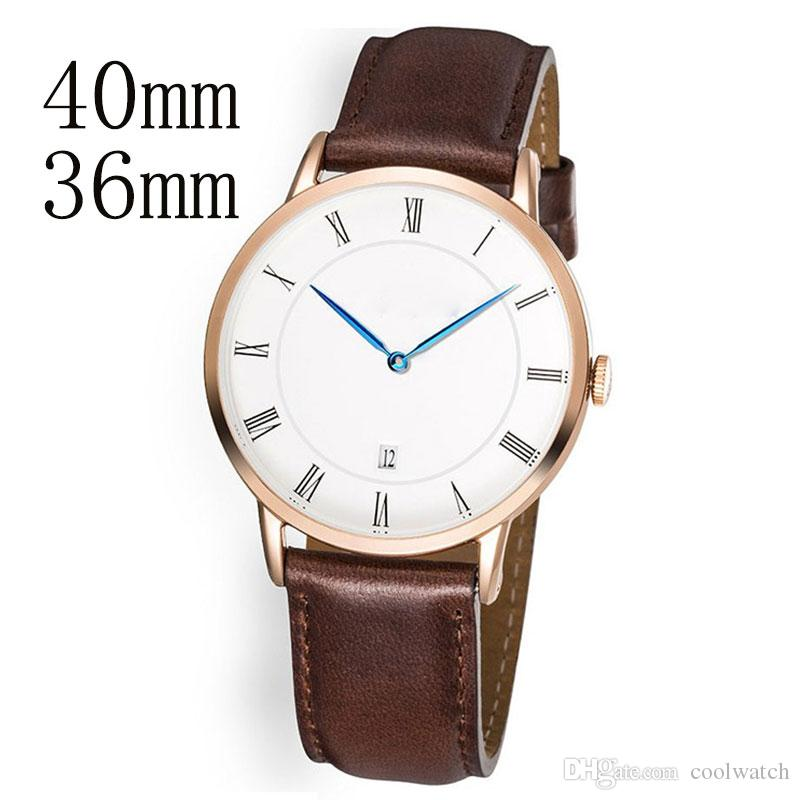 91910ec04dc Fashion Leisure Ultra Thin 40mm   36mm Luxury Watch Men Women Watches  Calendar Dial Two Needle Belt Leather Strap Sport Couples Wristwatch Couple  Watches ...