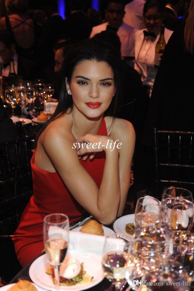 Kendall Jenner Elegant Celebrity Dresses 2020 Sheath One Shoulder Ankle Length Formal Evening Dresses Gowns Side Cut Out Custom Prom Dress