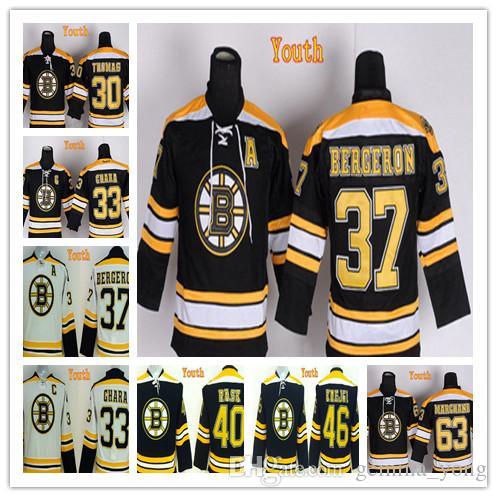 2018 2017 Boston Bruins Youth 37 Patrice Bergeron Jerseys Hockey Kids 30  Tim Thomas 33 Zdeno Chara 63 Brad Marchand 40 Rask 46 Krejci From  Gemma_yong, ...