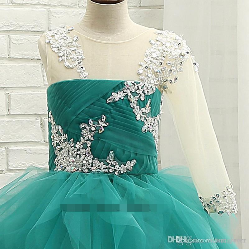 Turquoise Tulle robe de bal Petites Filles Pageant Robes 2017 Avec Une Épaule Manches Longues Volants Tulle Princesse Litrle Filles Formelle Parti