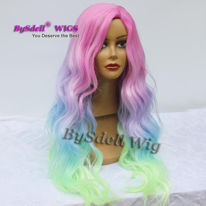 Hot Sale Colorful Mermaid Unicorn Hair Wig Synthetic Black Chyna Side Part Saclp Wig Halloween Patel Color Hair Cosplay Party Wigs
