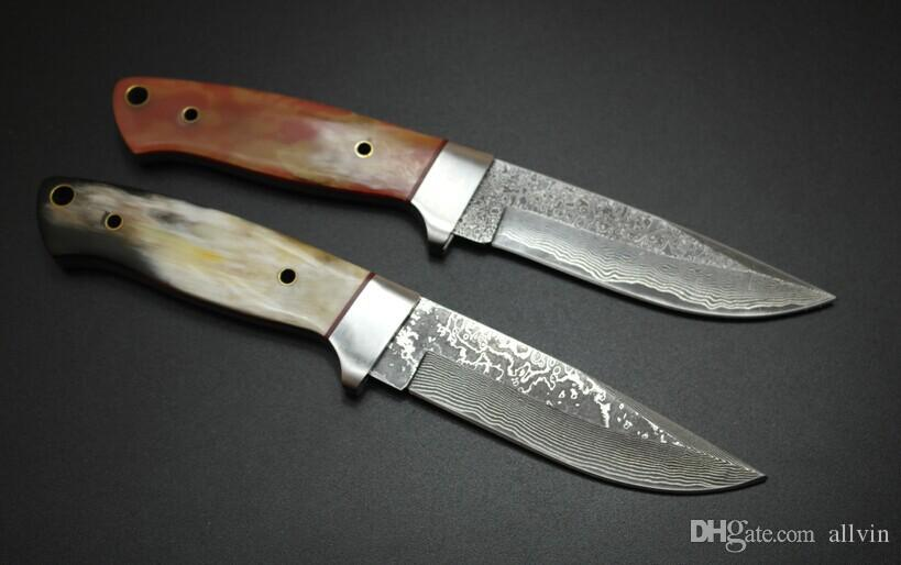 Excellent quality Damascus hunting knife Cow horn Handle 58HRC Blade Outdoor camping hiking survival straight knife knives Collectable