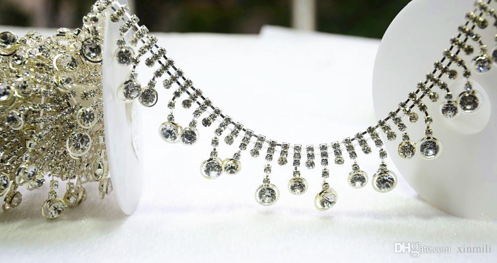 Applique-Brautkleidordnung der Kristallrhinestonetassel klare Kette, 1Yd / nähen auf dem Kleidhandwerksbanding