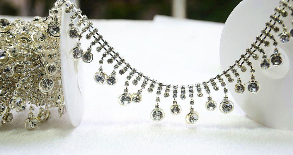 Bordare il vestito nuziale da applique della catena della nappa del cristallo del rhinestone, 1Yd / cucia sulla fasciatura del mestiere dell'indumento