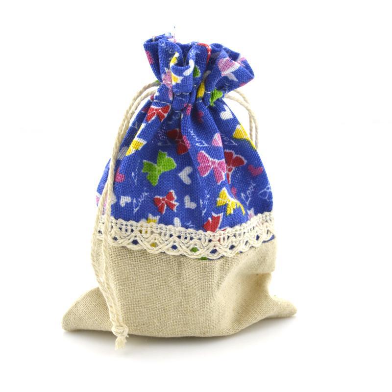 Estilo de mezcla 8x12cm Bolsa de lino de algodón con cordón bolsa de joyas dulces de Navidad / bolsas de regalo de boda NE814
