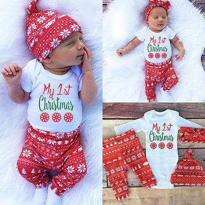 2018 wholesale newborn baby girl clothes set xmas christmas baby kids girls boys long sleeve romper top pant hat headband clothes set from entent