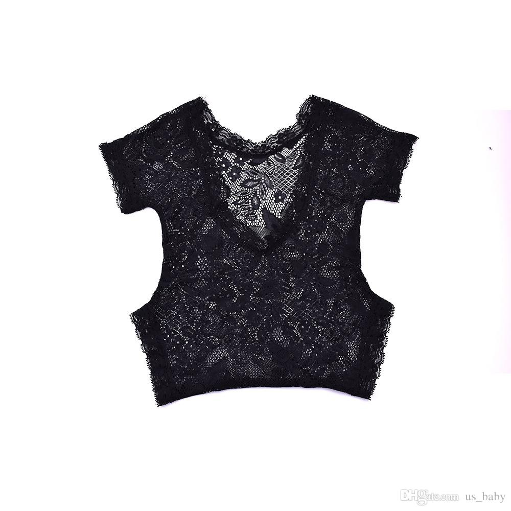 Newborn Lace Rompers Baby Girls Boys Jumpsuits Infant Cute Black White Photo Clothing Soft Lace Bodysuits 0-3M