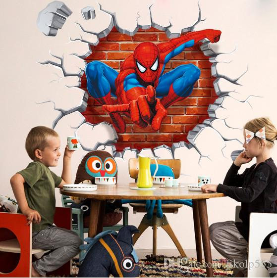 2017 new spider man children bedroom stereo wall background wall stickers can remove the wholesale trade /