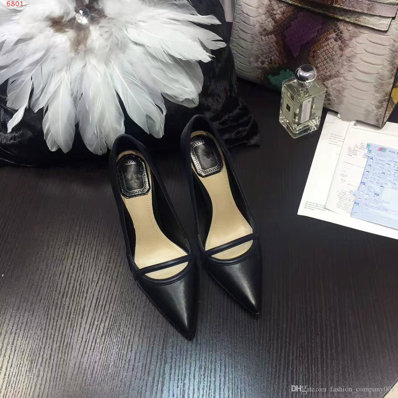 Free shipping New arrival genuine leather beautiful lady dress shoes shoes 12CM fashion black bottom high heels for women party wedding