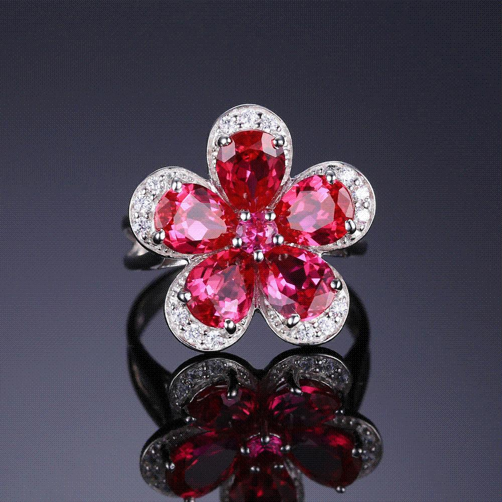 JewelryPalace 4ct Pigeon Blood Ruby Ring 925 Solid Sterling Silver Sets Brand New Luxury Flower Gift For Women