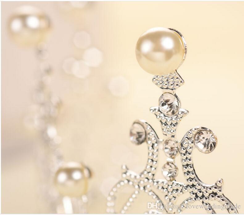 2019 جديد الغربية الولايات المتحدة diy الفضة / الذهب كعكة الديكور مجوهرات الزفاف العرسان أغطية الرأس الزفاف اكسسوارات الزفاف تاج d01