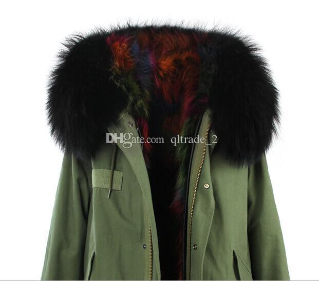 JAZZEVAR Marka Gökkuşağı rakun kürk astarlı ordu yeşil uzun parkas çok renkli kürk tuval kış kar palto