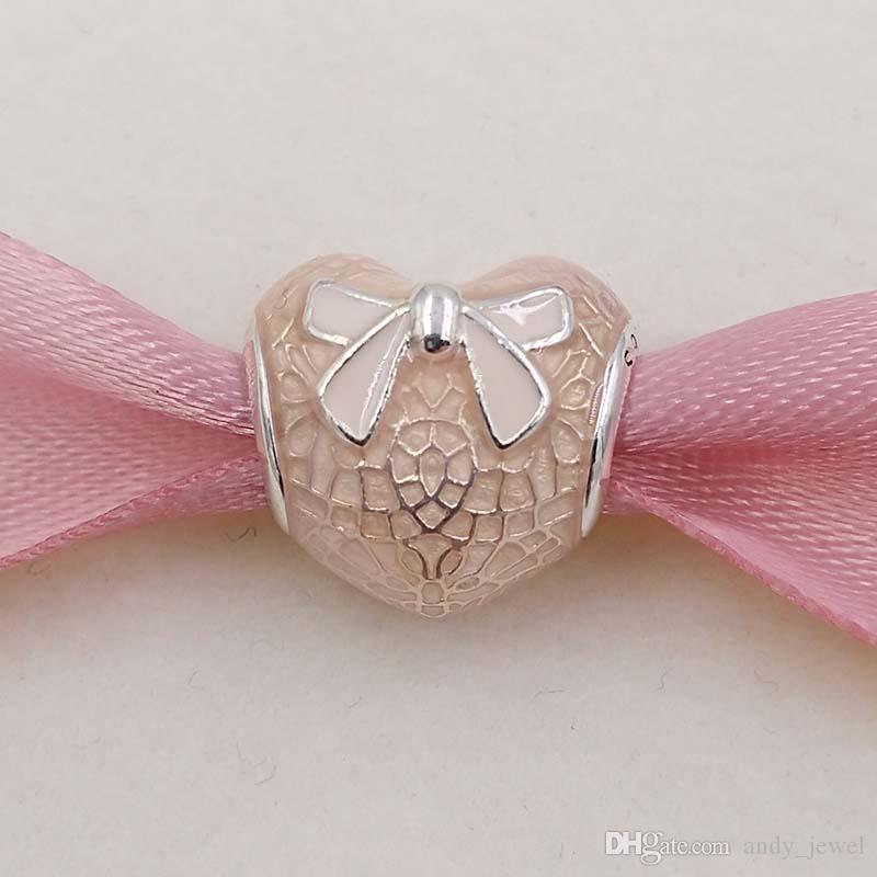 Valentines Day 925 Silver Beads Pink Bow & Lace Heart Charm Fits European Pandora Style Jewelry Bracelets 792044ENMX Love heart Shaped Gifts