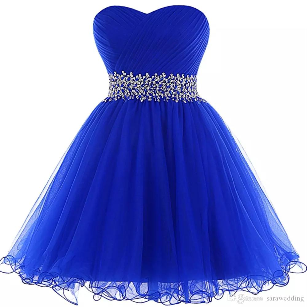 Organza Ball Gown Homecoming Dresses Royal Blue 2018 Elegant Beaded Short Prom Gowns Lace Up Party Dress