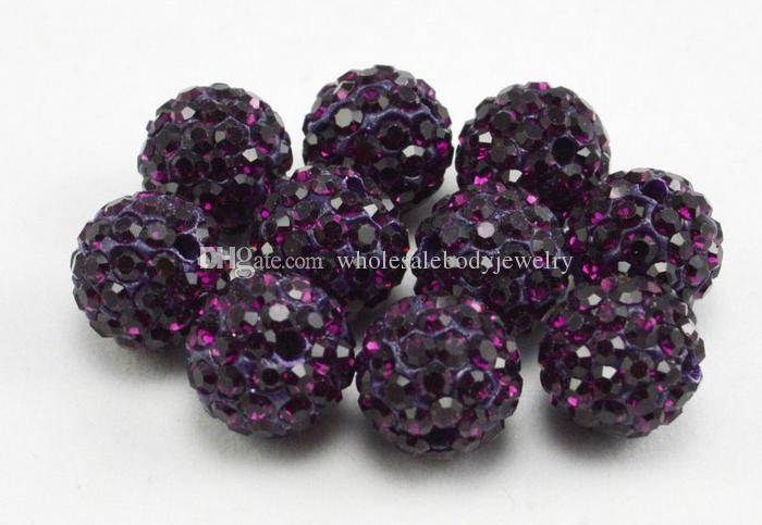 100PSC / 10MM Shamballa foratura palla CZ Crystal Bead Collana perline Fai da te Accessori gioielli Spedizione gratuita