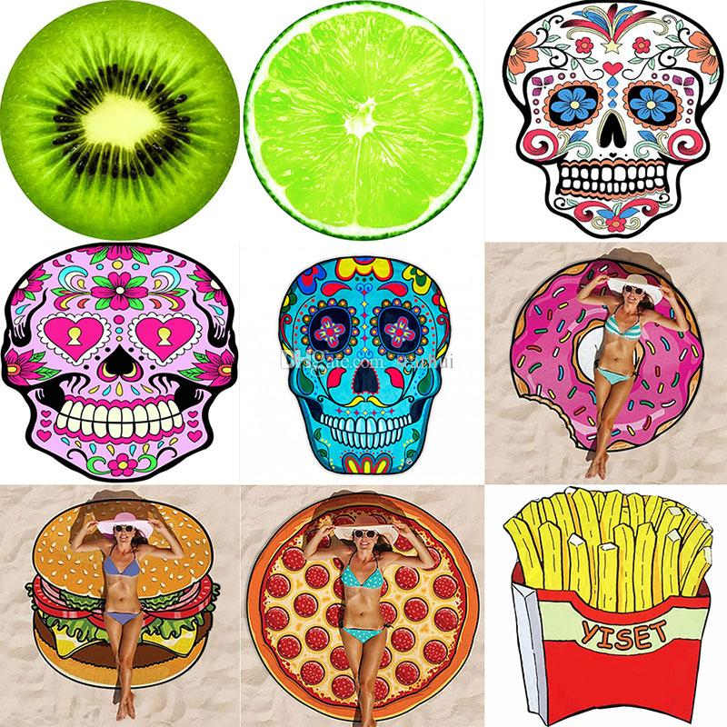 emoji beach towel round polyester towel blankets thin yoga mat swimwear throw picnic yoga mat floral blanket skull blanket 150 150cm wx p14 king size
