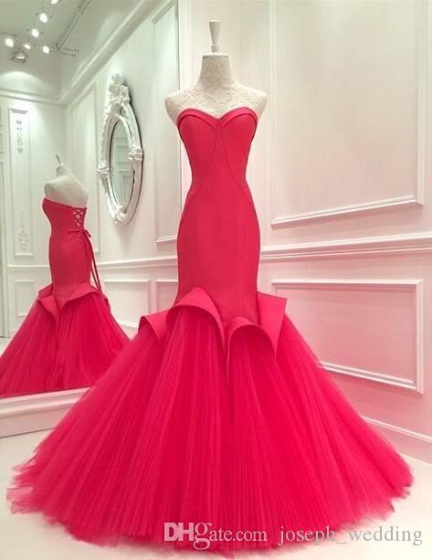 Vimans Charme Rosy Sweetheart sirena abito da sera rosso satinato vestito da sera Sexy aperto indietro pizzo lungo abiti da ballo