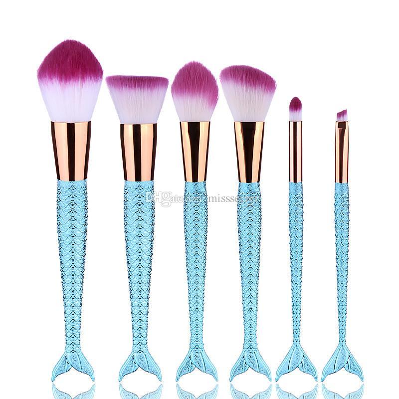 7 pçs / set Pincéis de Maquiagem Set Sereia Lidar Com Design Big Fail Escova Blush Em Pó Sombra Delineador Mistura Nose Fan Make Up Escova Com Saco