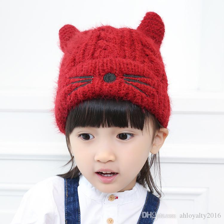 Wholesale Cute Baby Autumn Winter Caps Knitted Hat with Woolen Inner for Kids Children Warm Ears Caps for Girl Boy