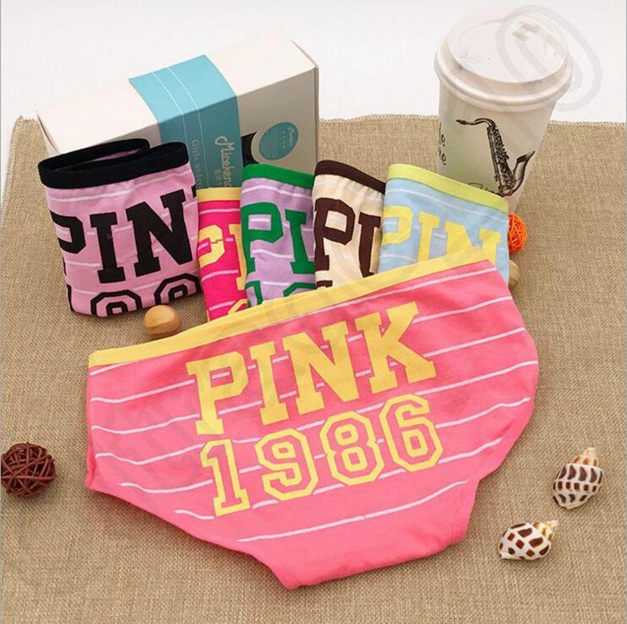 2017 Pink 1986 Underwear Pink Letter Candy Color Cotton Underwear ...