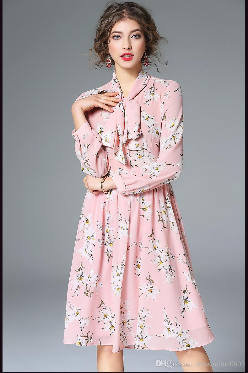 2017 Floral Print Pink Chiffon Dresses Spring 2017 Loose Long ...