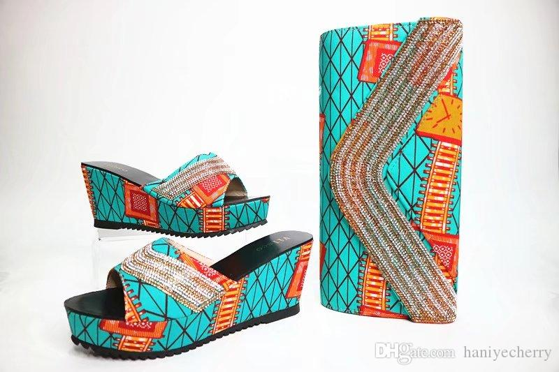 Italian Shoes matching Bag African Style fashionable shoes and bag set nigeria party Mixcolor shoes match to bag