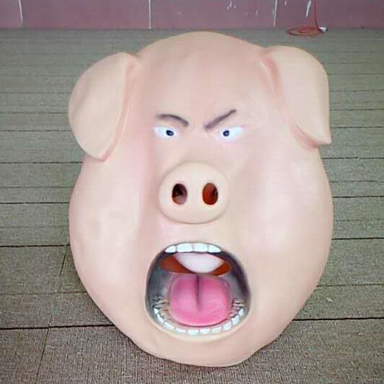 Wholesale 2017 High Quality Halloween Pig Scary Mask Latex Animal Head Adult Mask Angry Silicone Rubber Pig mask macka