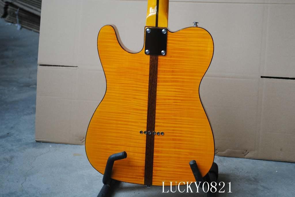 China Guitar Custom Yellow TL Electric Guitar Tiger Flame Maple fingerboard Guitar Factory Wholesale Guitars