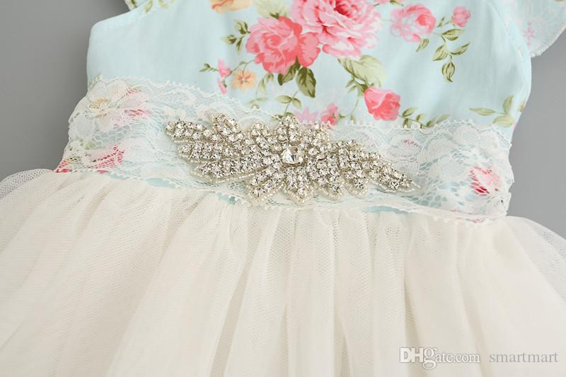 Everweekend Girls Floral Print Tulle Summer Party Dress Princess Fly Sleeve with Crystal Neckline Ruffles Holiday Dresses