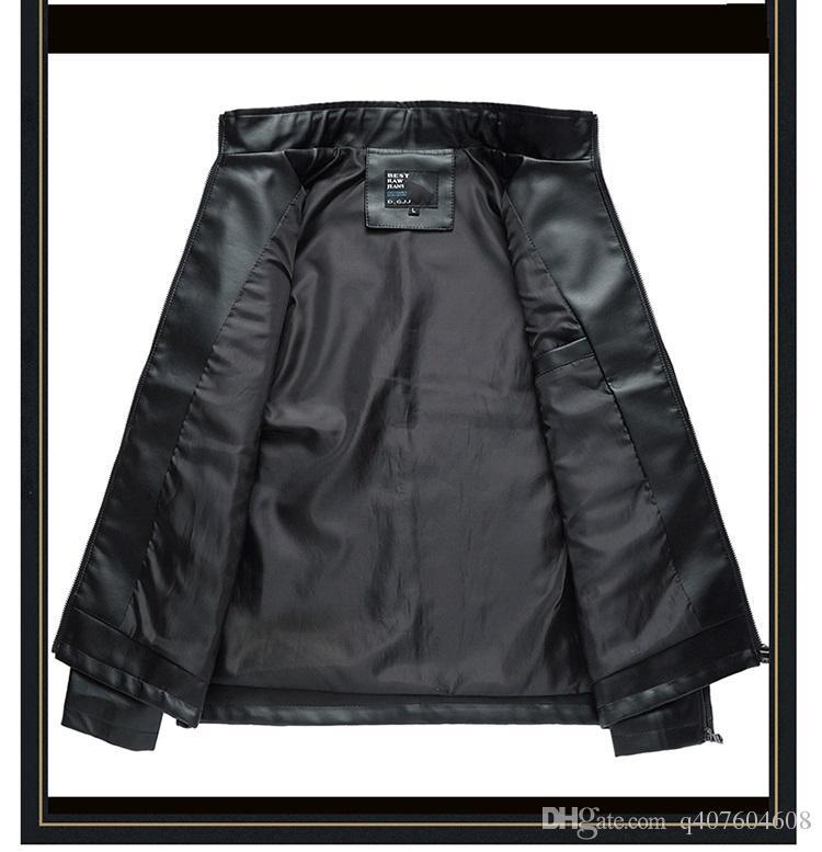 Giacca in pelle da uomo casual da uomo autunno e inverno Giacca da moto in pelle da uomo classico colore puro indossato i taglia M-3XL