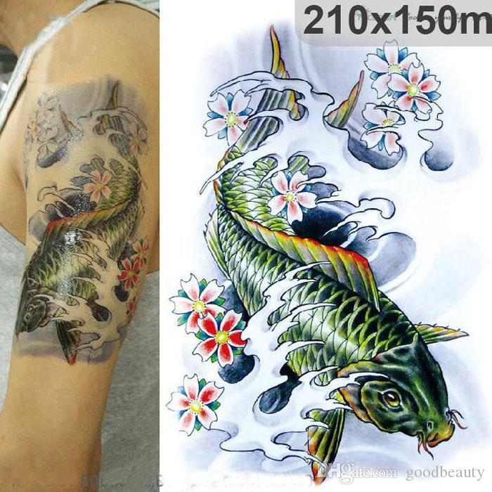 c310a23aba337 3D Large Big Tatoo Sticker Sketch Green Fish Drawing Designs Cool Temporary  Tattoo Stickers High Resolution 21*15cm Temporary Back Tattoos Temporary  Dragon ...