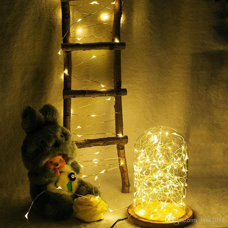AA батареи питания Управляется LED Медь Серебро Проволока Сказочные огни Строка 50Leds 5M Christmas Xmas Главная украшения партии семян лампы Открытый