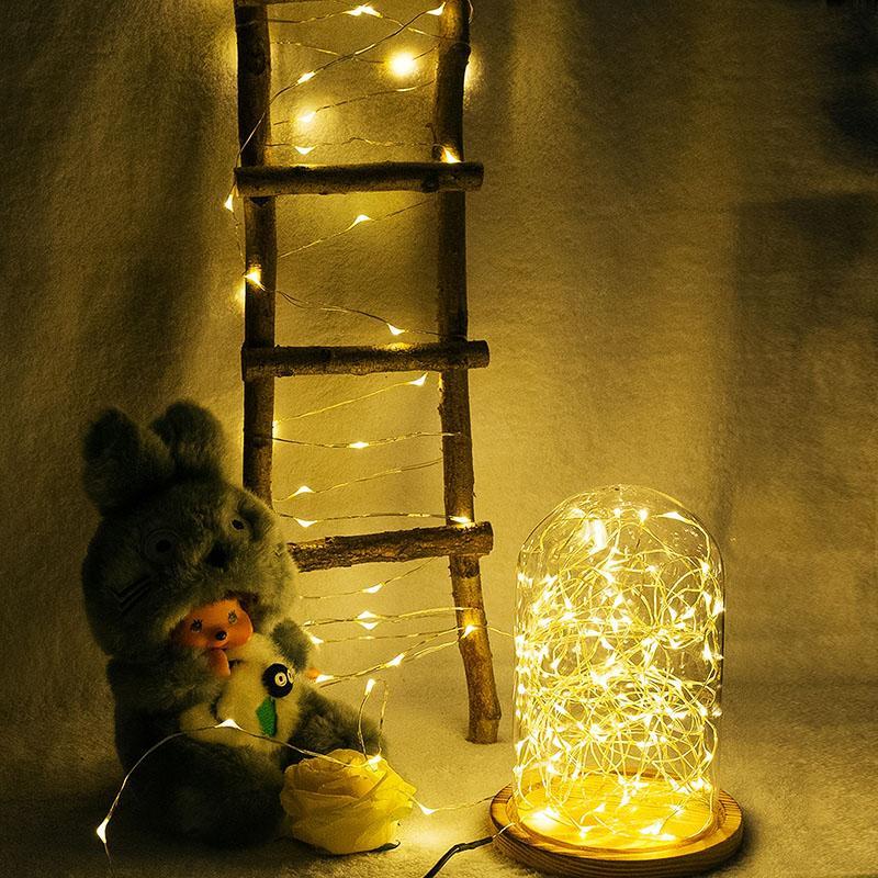 تعمل AA طاقة البطارية LED النحاس أسلاك الفضة أضواء سلسلة الجنية 50Leds 5M عيد الميلاد عيد الميلاد الرئيسية الطرف الديكور البذور في الهواء الطلق مصباح