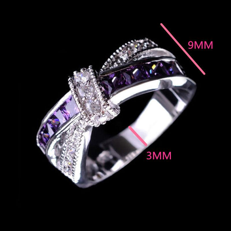 925 Sterling Silver Queen Fancy Natural Mystic Topaz Round Gemstone Jewelry Austrian Crystal Wedding Ring for lovers