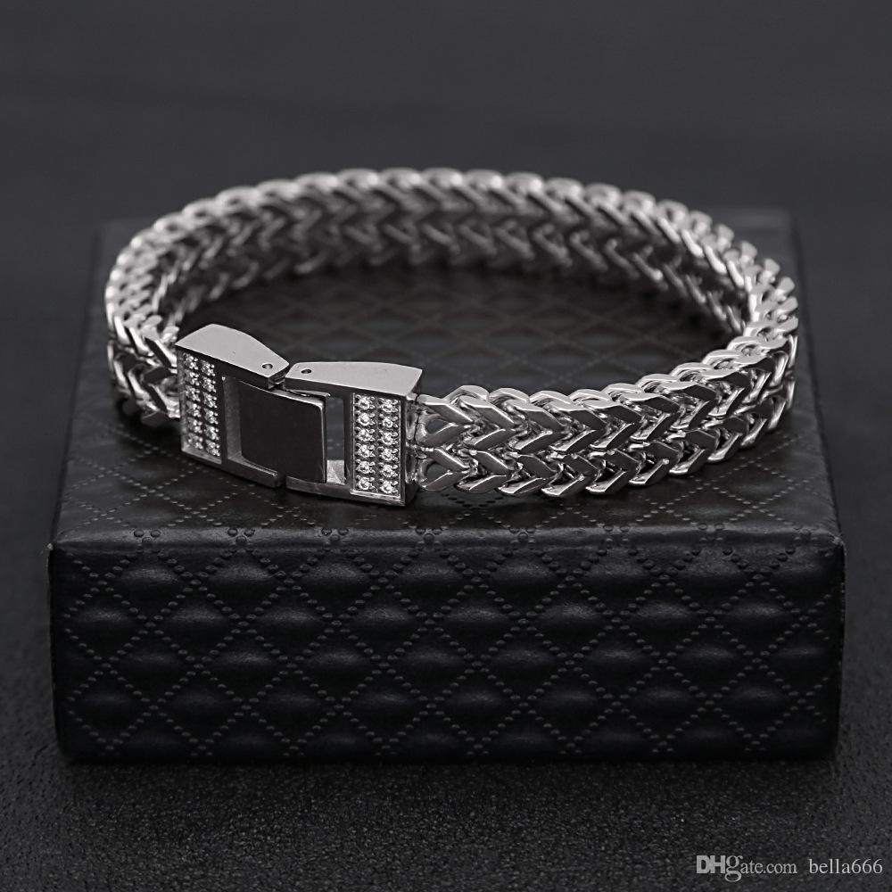 Gold Silver Color Stainless Steel Keel Chain Bracelet CNC Cubic Zirconia Hiphop Wristband Wrap Bangles Men's Trendy CZ Rapper Jewelry