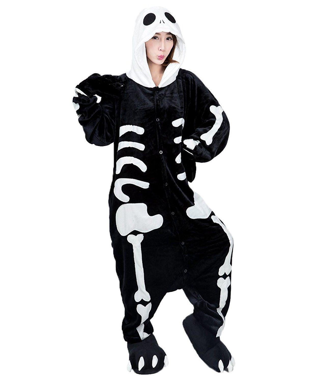 62367fa65 Animal Costume Onesie Adults Sleepwear Kigurumi Cosplay Skeleton W ...